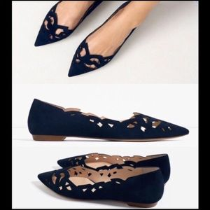 Zara | Navy blue suede laser cut pointed toe flats